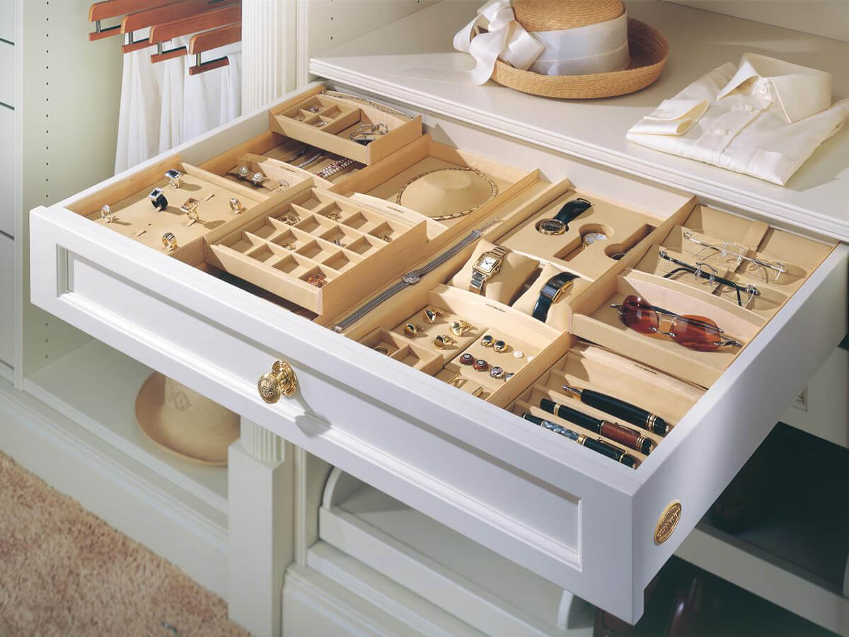 Multiple Wooden Drawer Organizers For Small Items