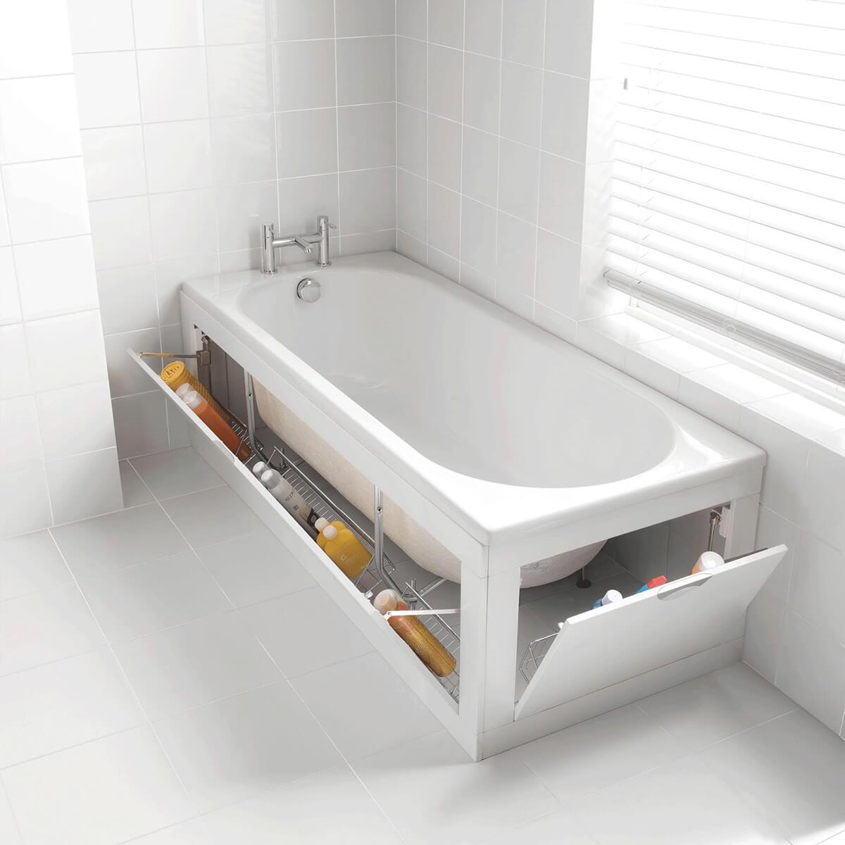 Ingenious Bathtub Storage for Small Bathrooms