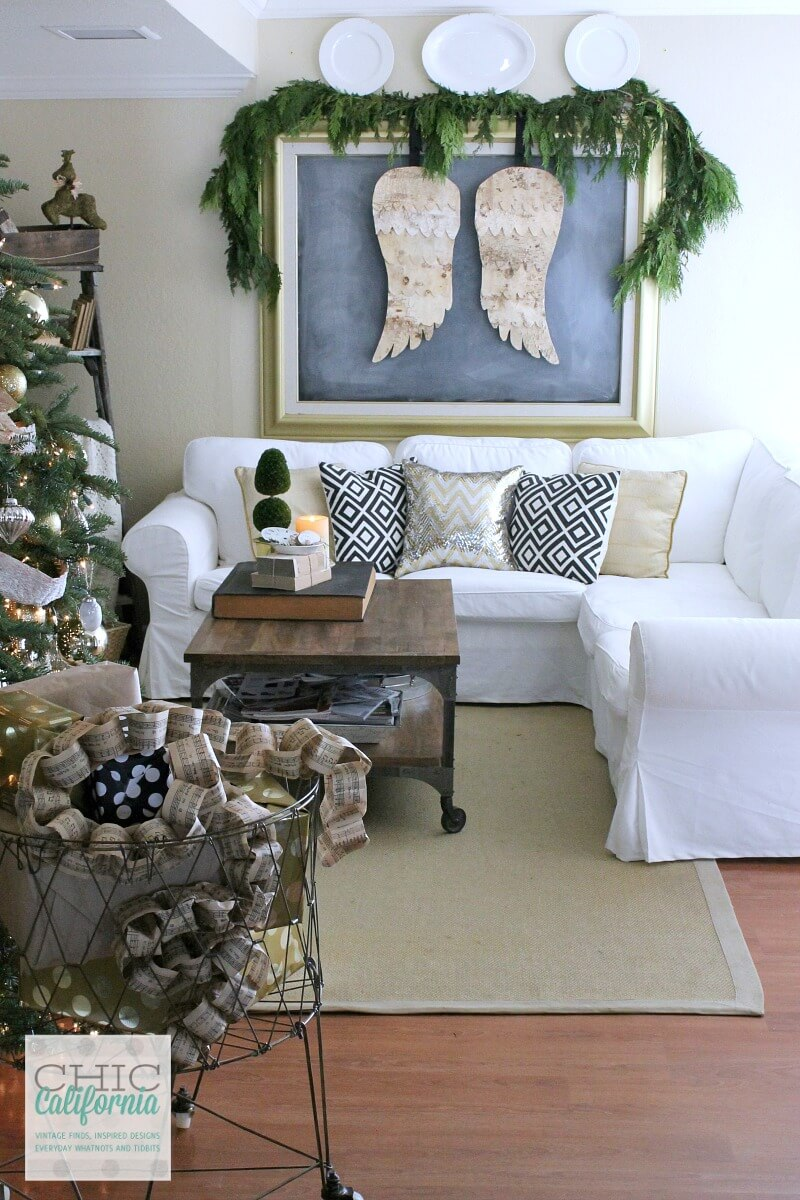 Angel Wings Wall Hanging with Tree Branch