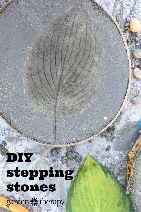 Leaf Imprinted Concrete Stepping Stones