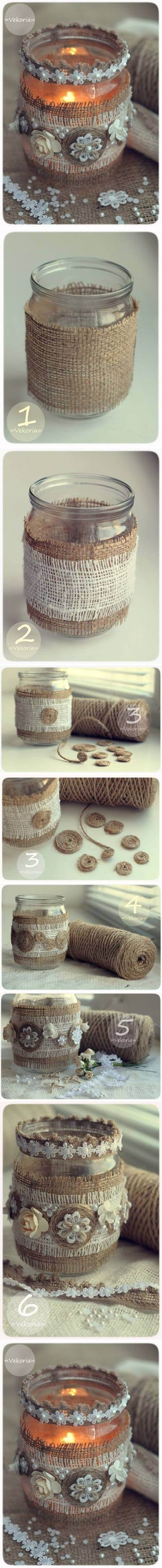 Button and Burlap Hand Wrapped Votive Candle