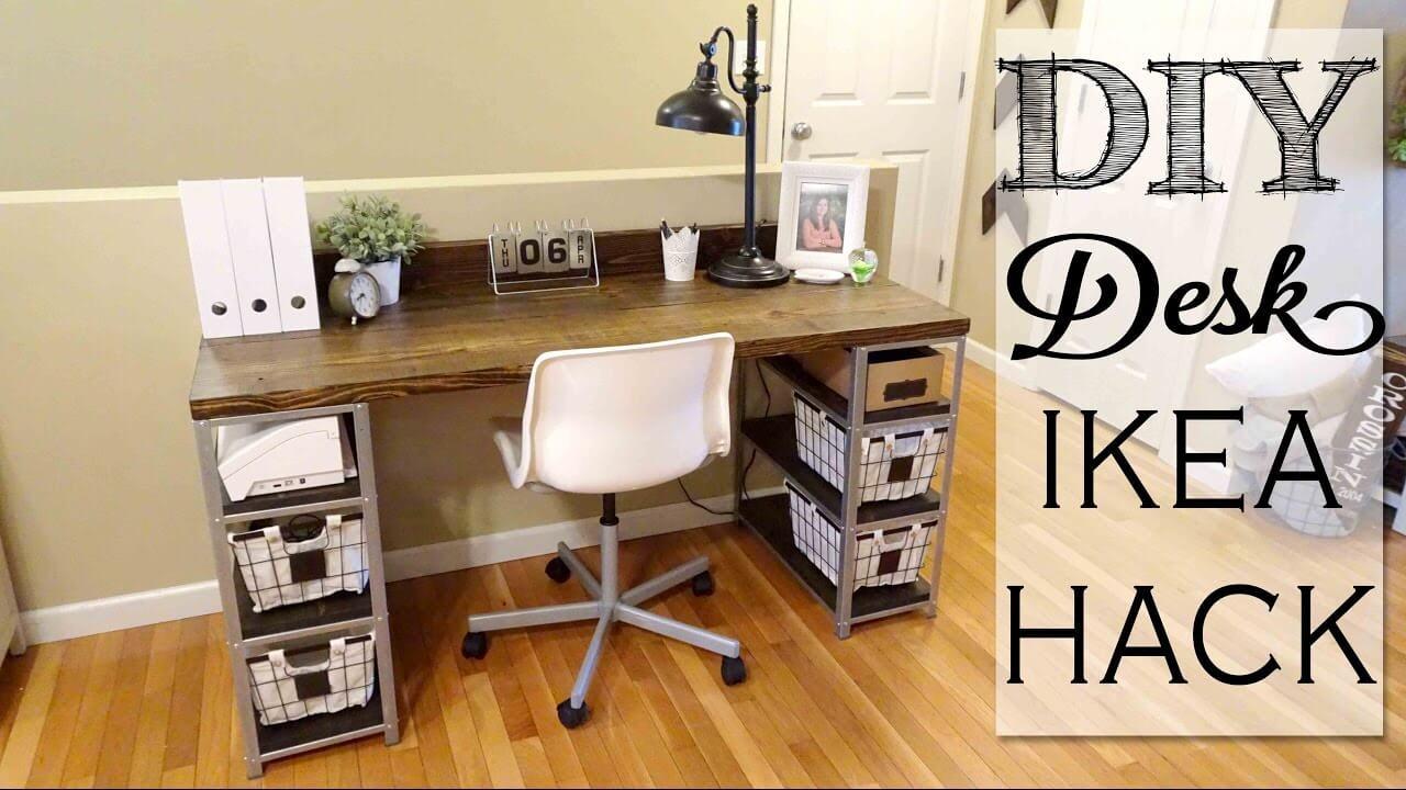 IKEA Style DIY Desk with Baskets