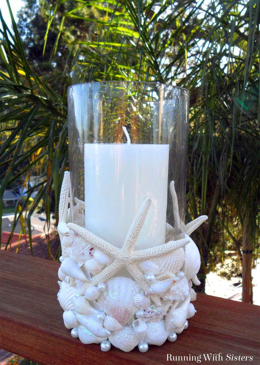 Candle Vase Covered in Shells and Starfish