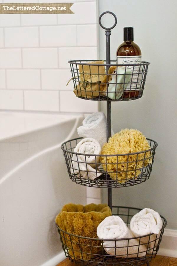 Tiered Metal Basket Bathroom Organizer