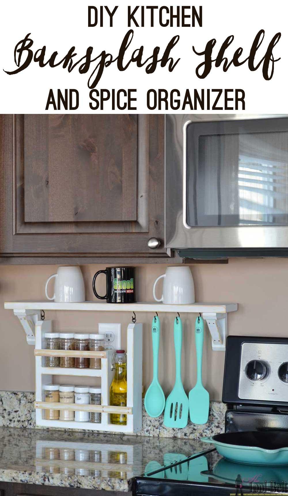Neat and Organized Backsplash Shelf