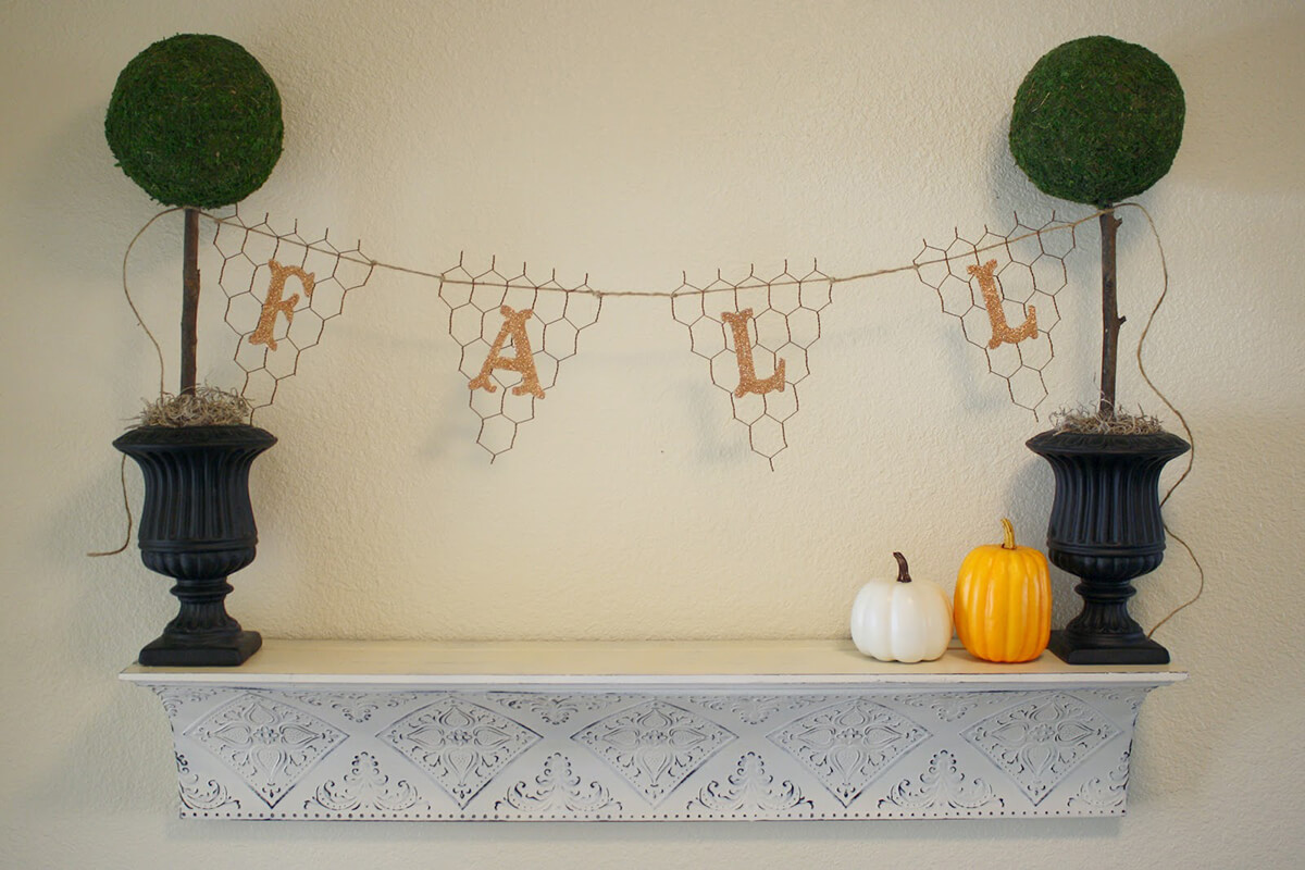 Cute Lettered Banner with Chicken Wire