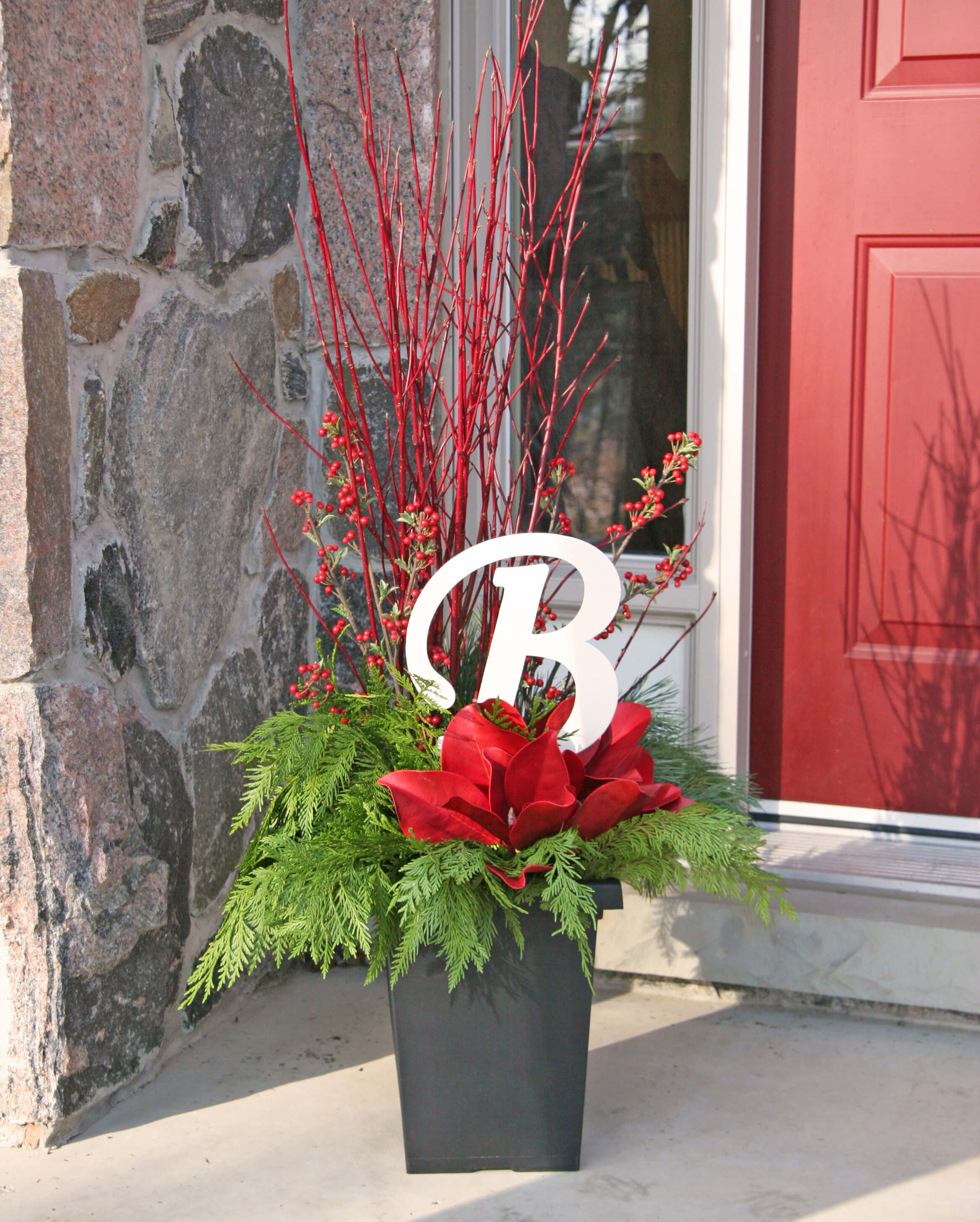 DIY Festive Monogram Porch Planter