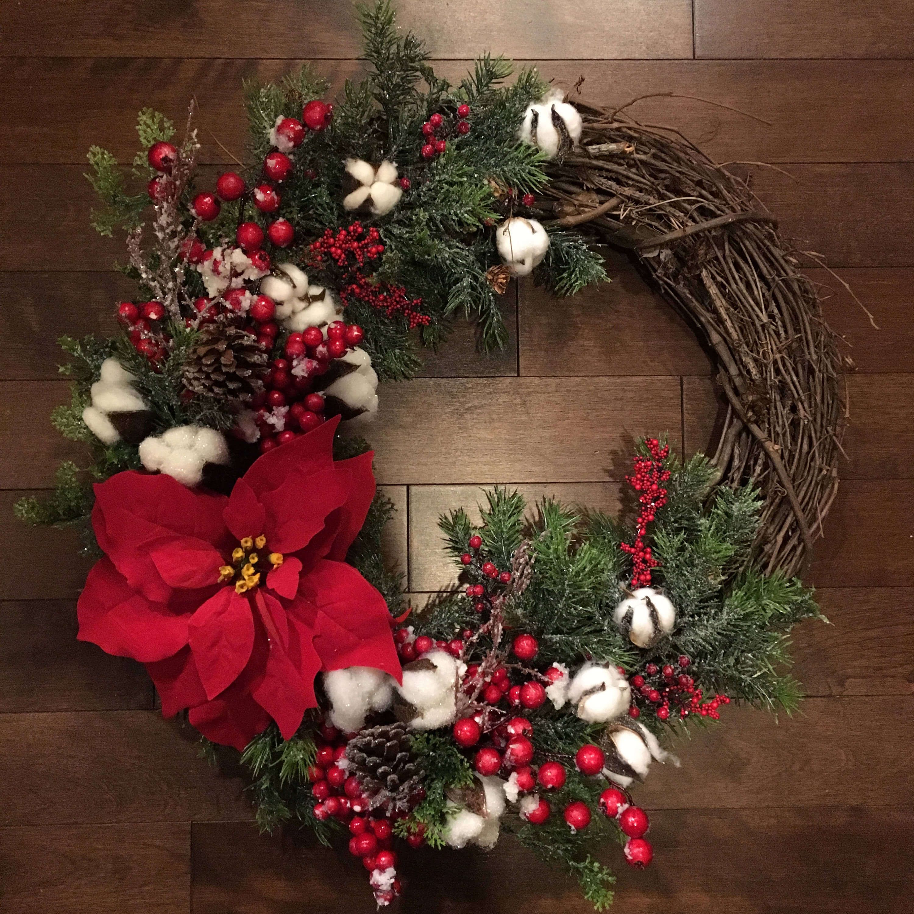 Rustic Grapevine and Raw Cotton Wreath