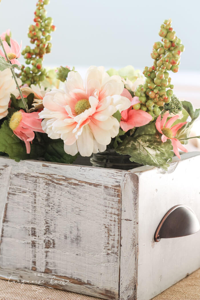 Antique Wooden Crate with Beautiful Spring Flowers