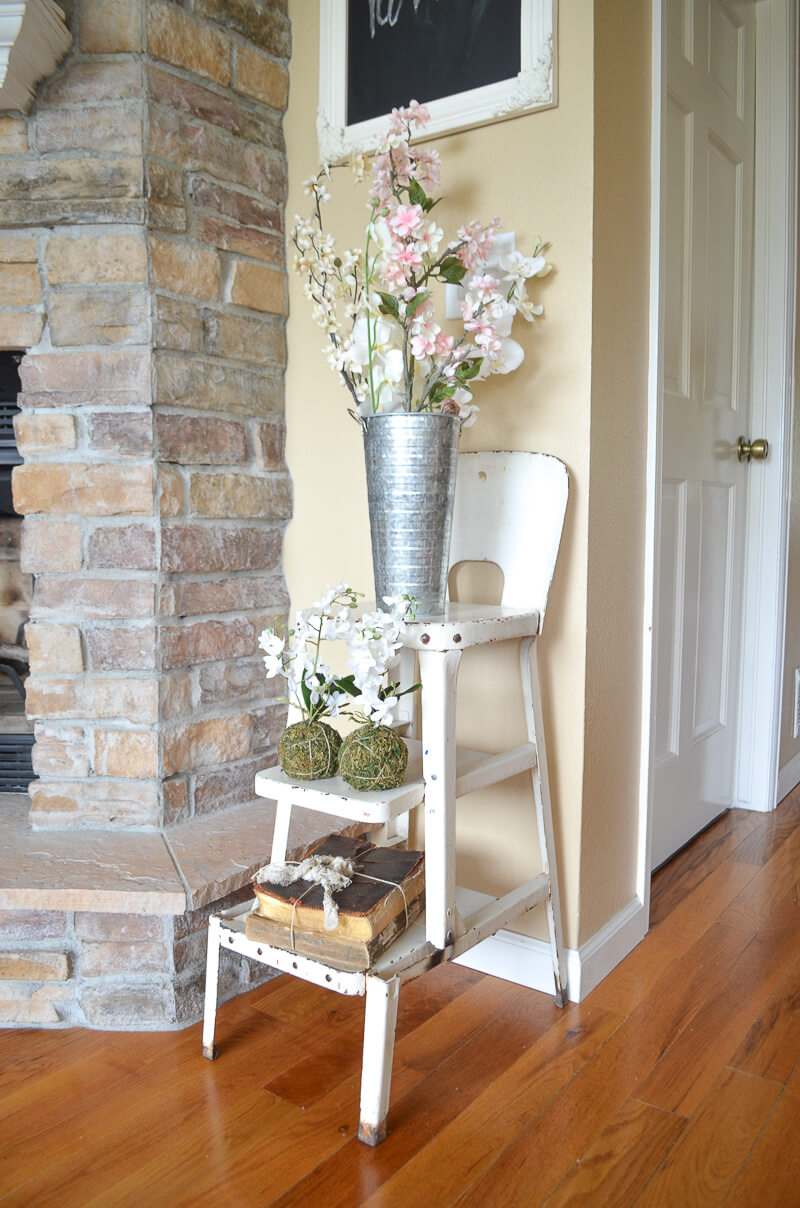 Farmhouse Chair with Metal Vase and Flowers