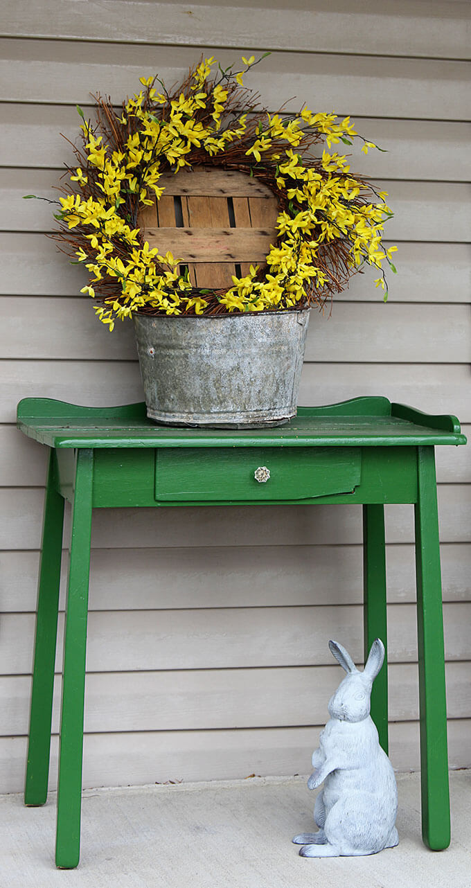 Green Antique Table, Bunny Statue, Floral Wreath