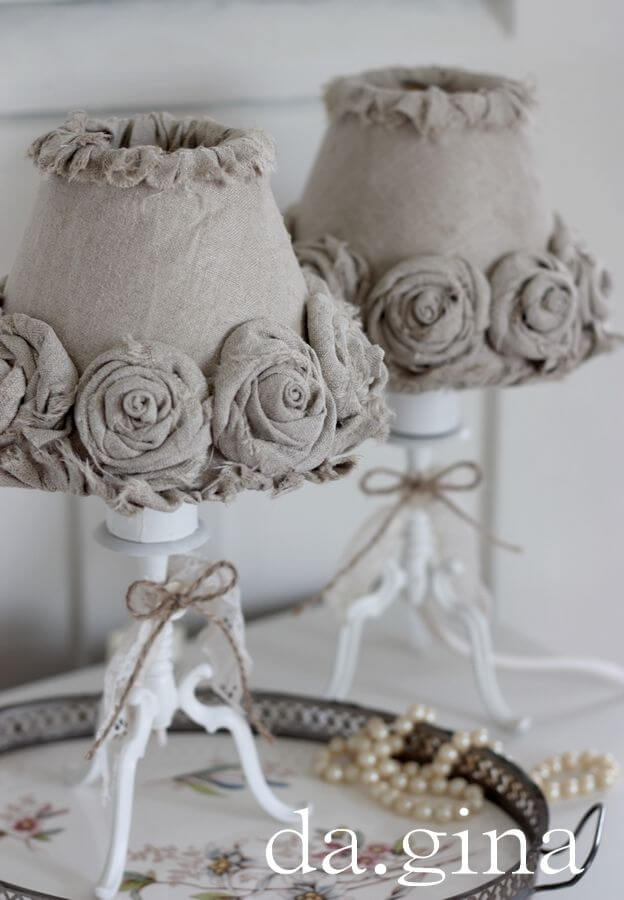DIY Fabric Rosette Lamp Shade