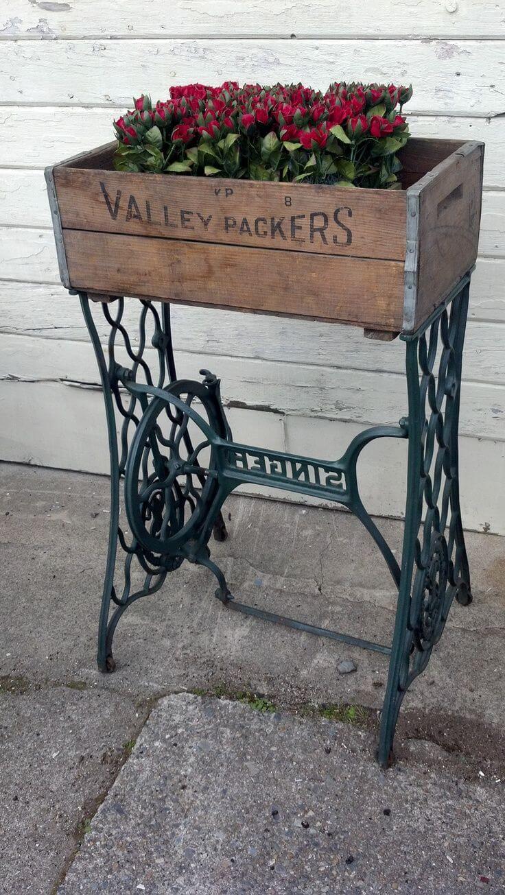 Repurposed Sewing Machine Flower Box