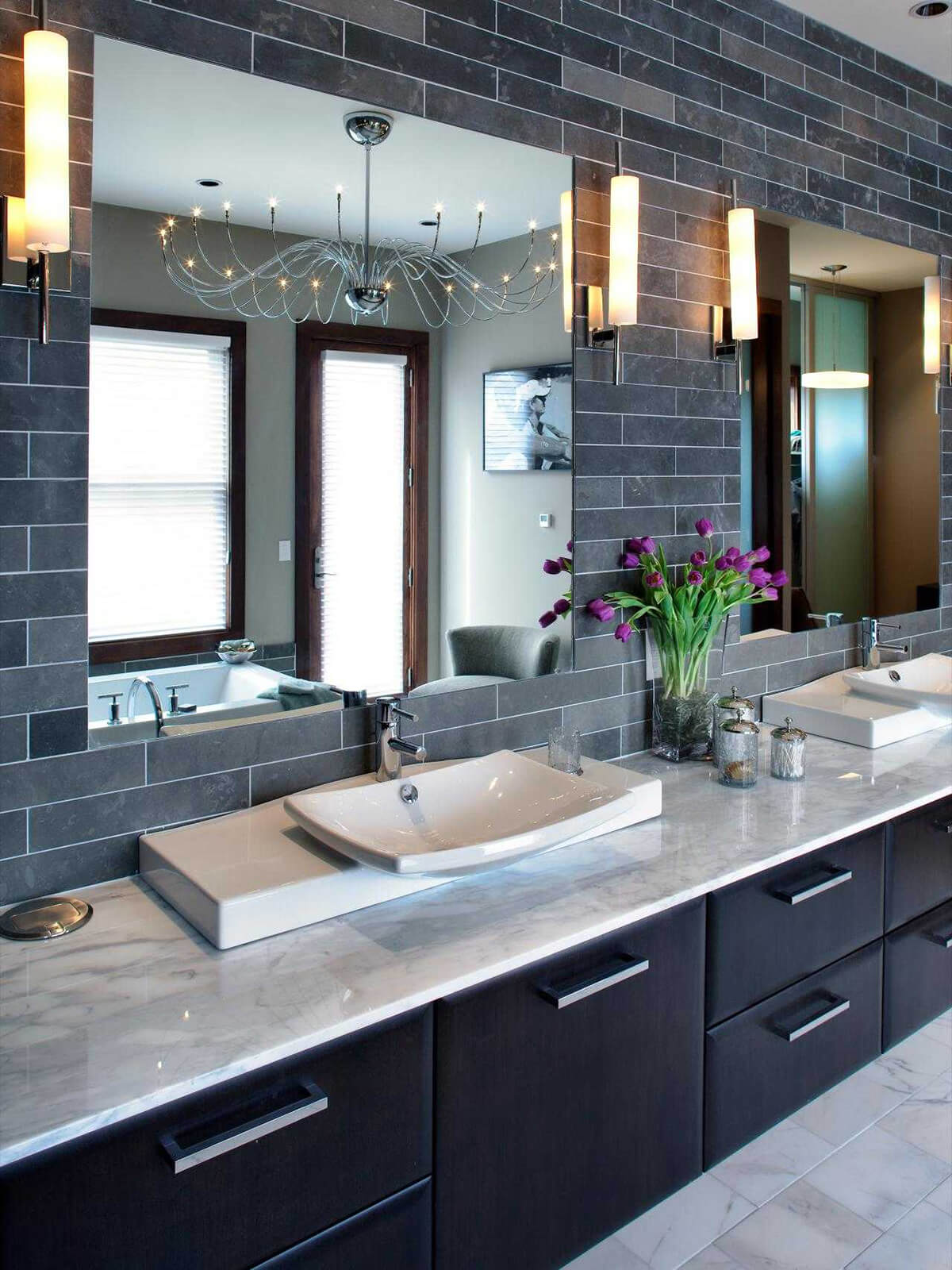 Marble Counter with Coordinated Backsplash