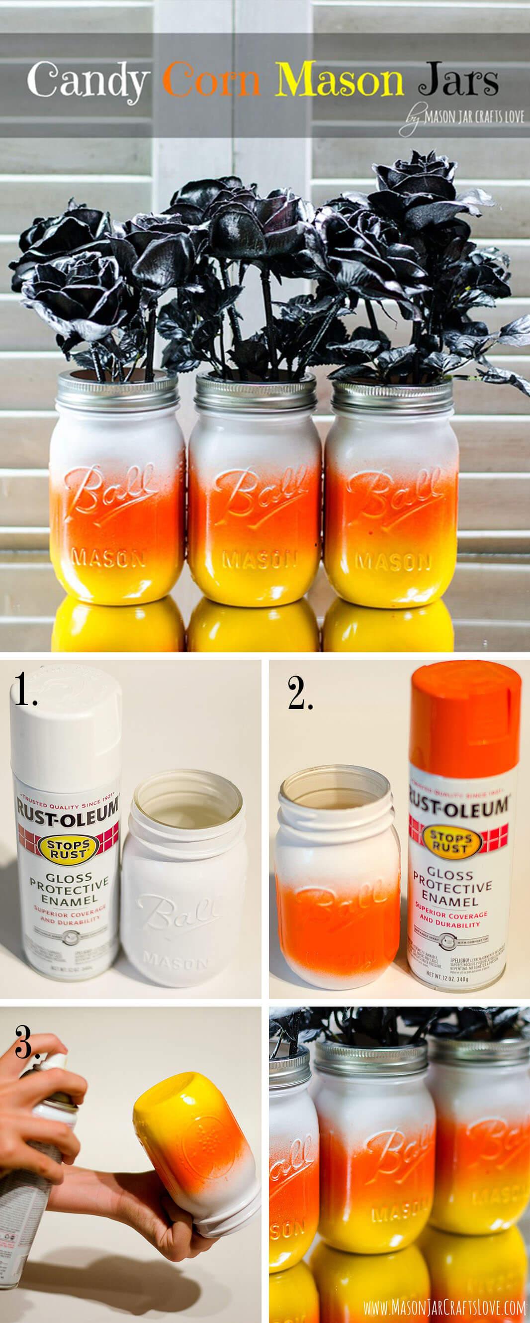 Trick-Or-Treat Candy Corn Mason Jar Vases