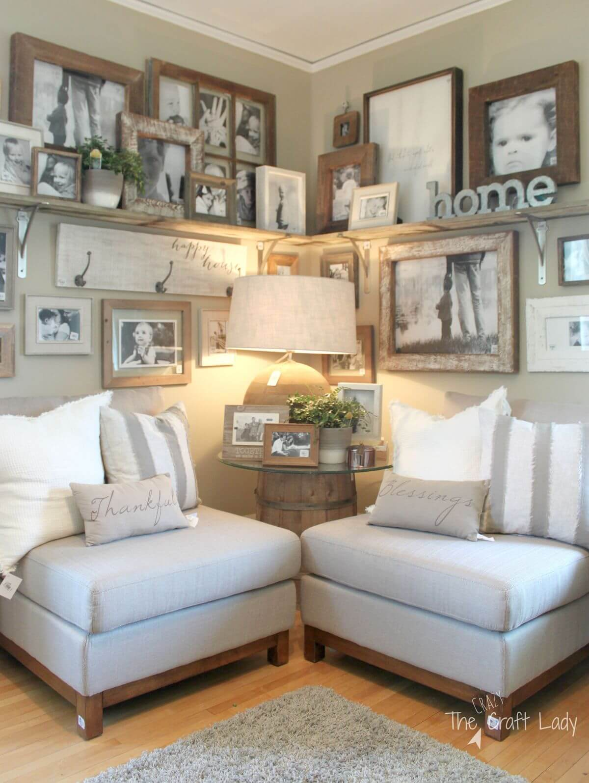 Wood Framed Family Photo Display Corner