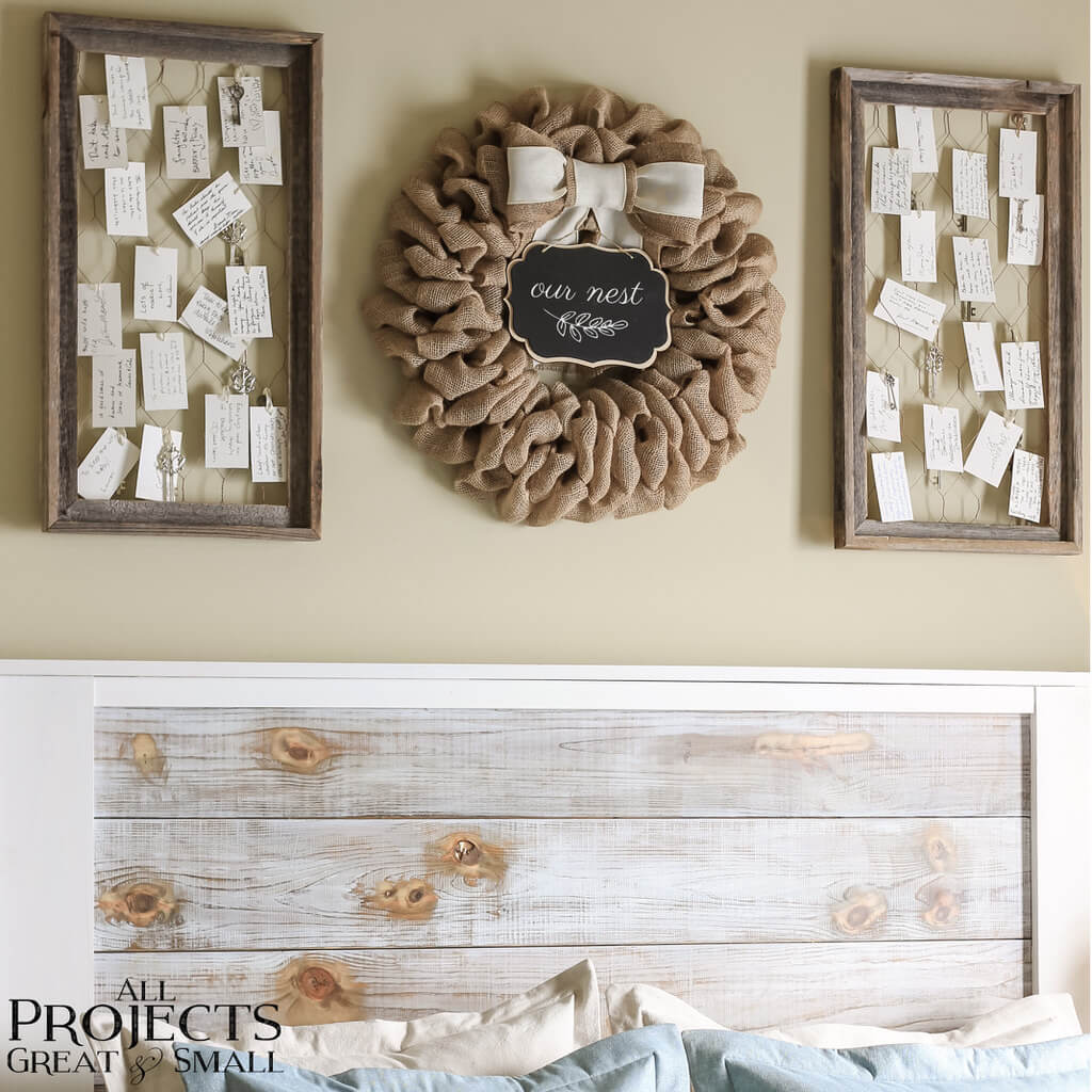 Burlap Wreath and Chickenwire Keepsake Frames