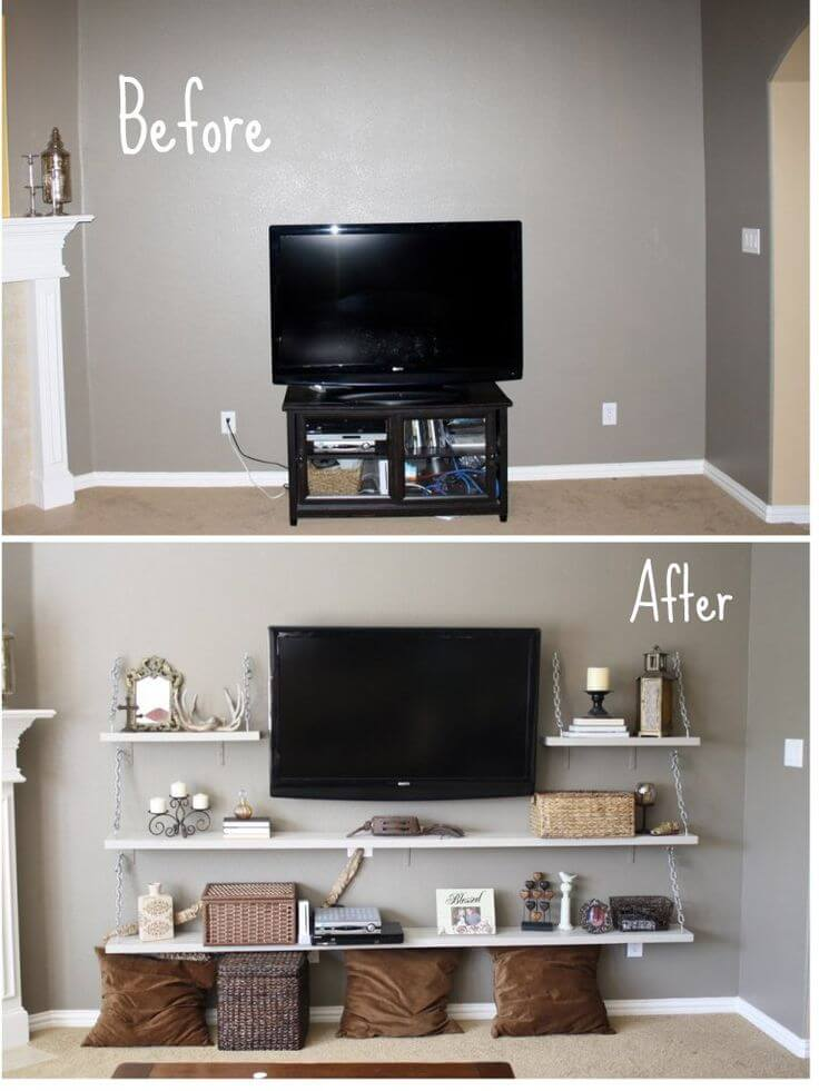 Fill a Wall with DIY Shelving