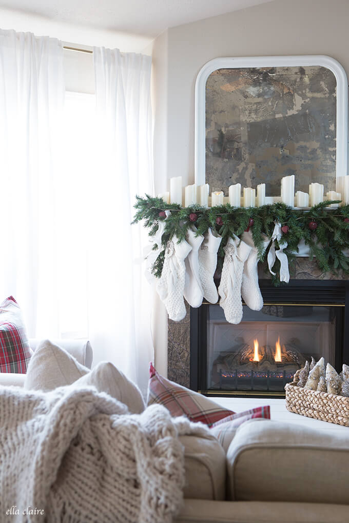 Large Family Staggered Stockings Fireplace Decorations