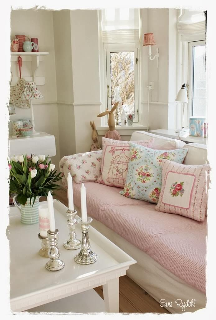 Comfortable Sofa with Mixed Pink Patterns