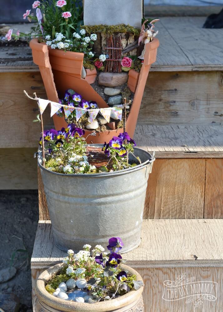 Metal Bucket Mini Garden Scenes