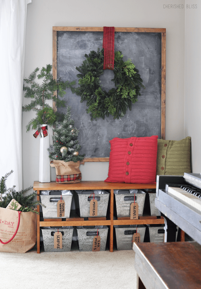 Wreath, Red Ribbon and Chalkboard Background