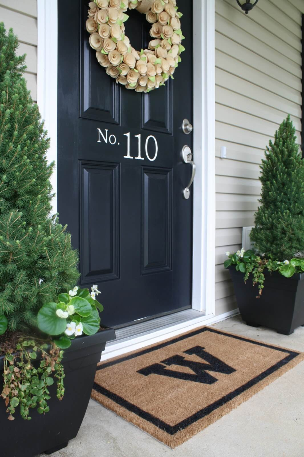 Subtle House Number for a Dark Front Door