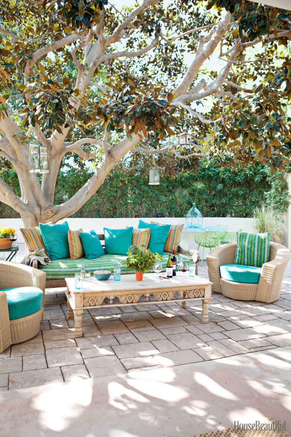 Outdoor Living Area with Blue and Striped Accents