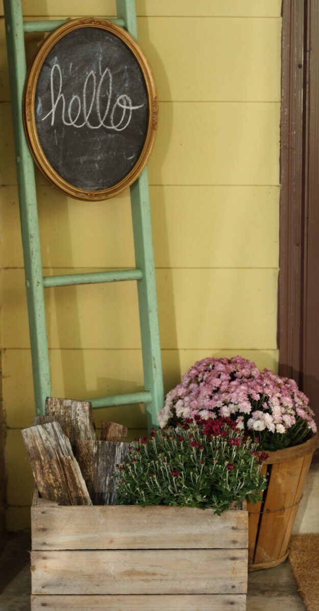 Wood Box and Barrel Planters with Chalkboard Sign