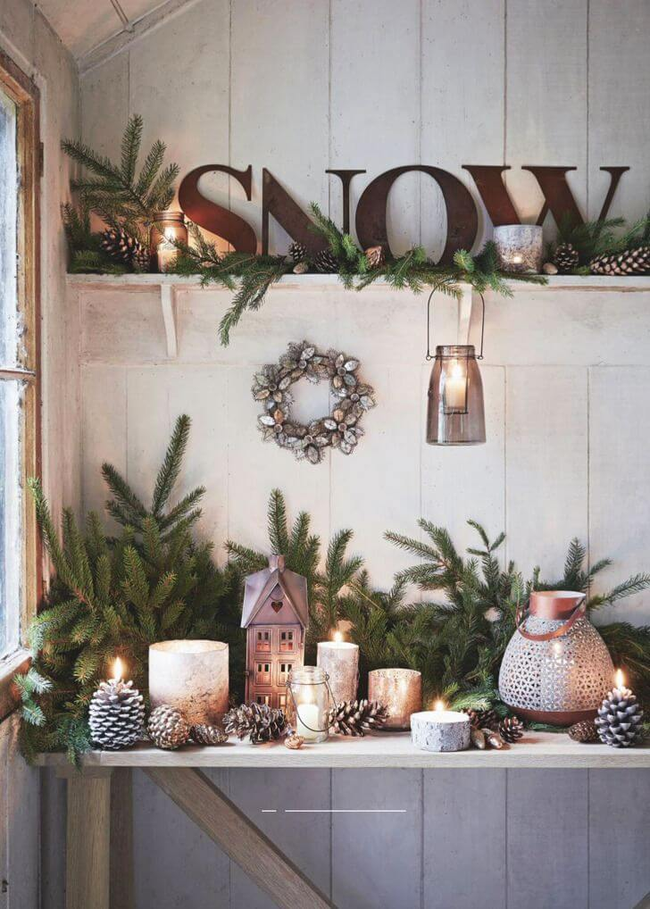 Cozy Pine and Candle Display