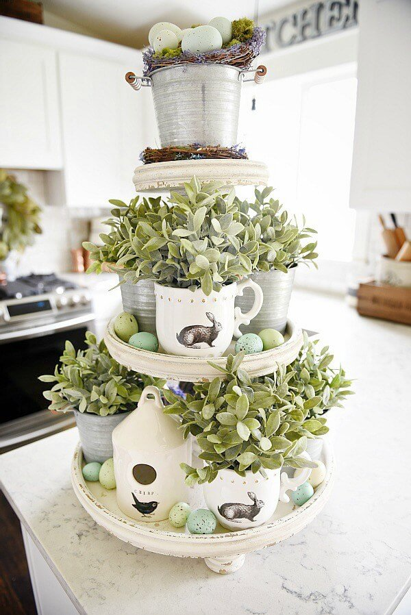 Farmhouse Easter Mug Greenery Arrangements