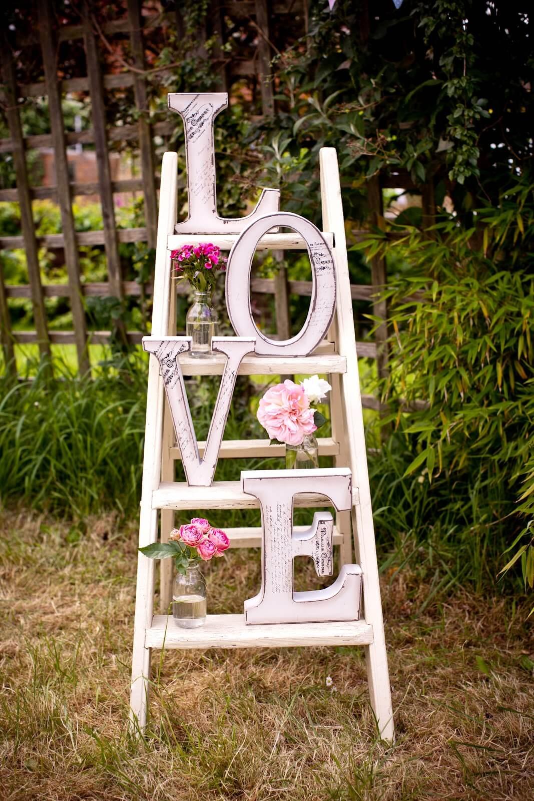 Love Ladder and Vase Garden Display