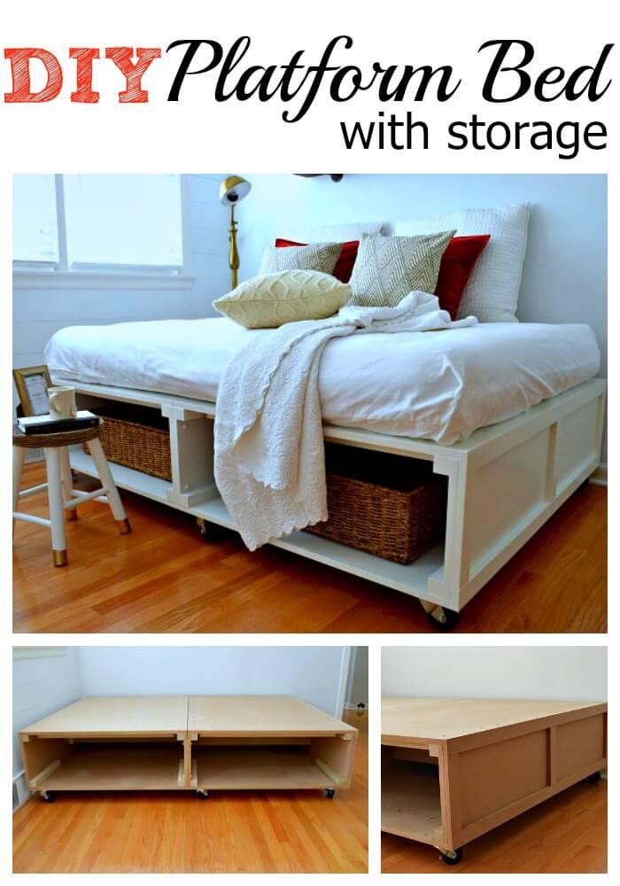 Platform Bed With Wide Storage