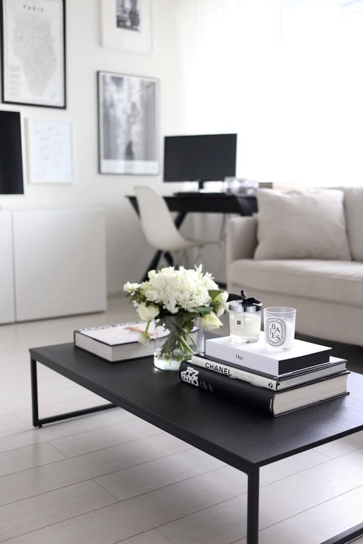 Simple Black and White Understated Book and Flower Display