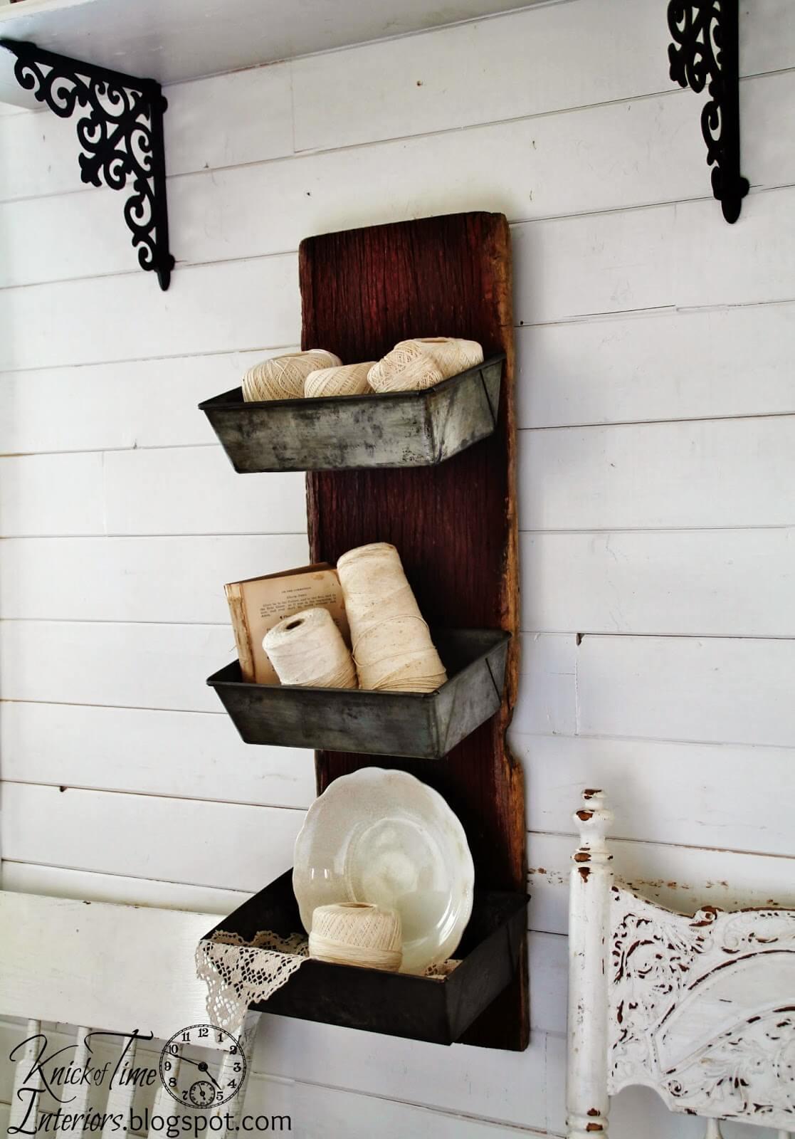 Barn Wood and Bread Tins Wall Bins