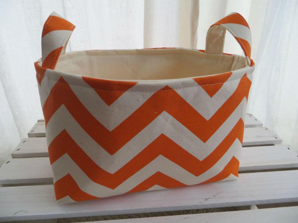 Handmade Small Fabric Organizing Bin with Handles