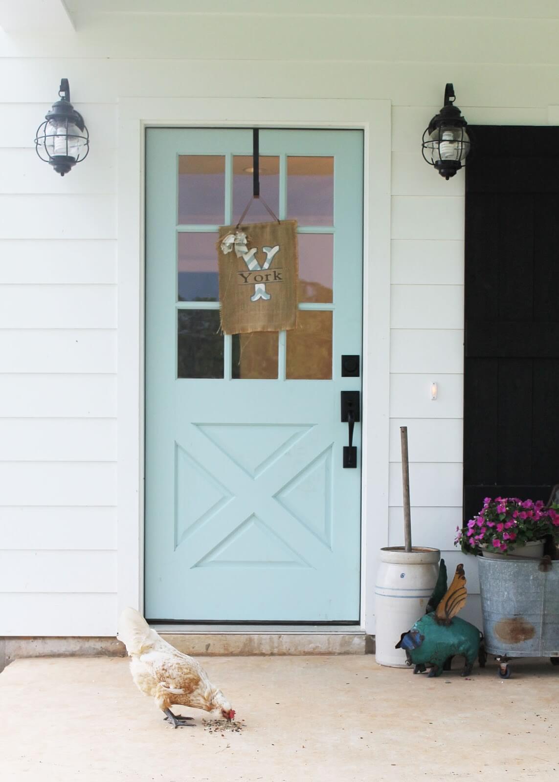 Baby Blue Paneled Barn Door Idea