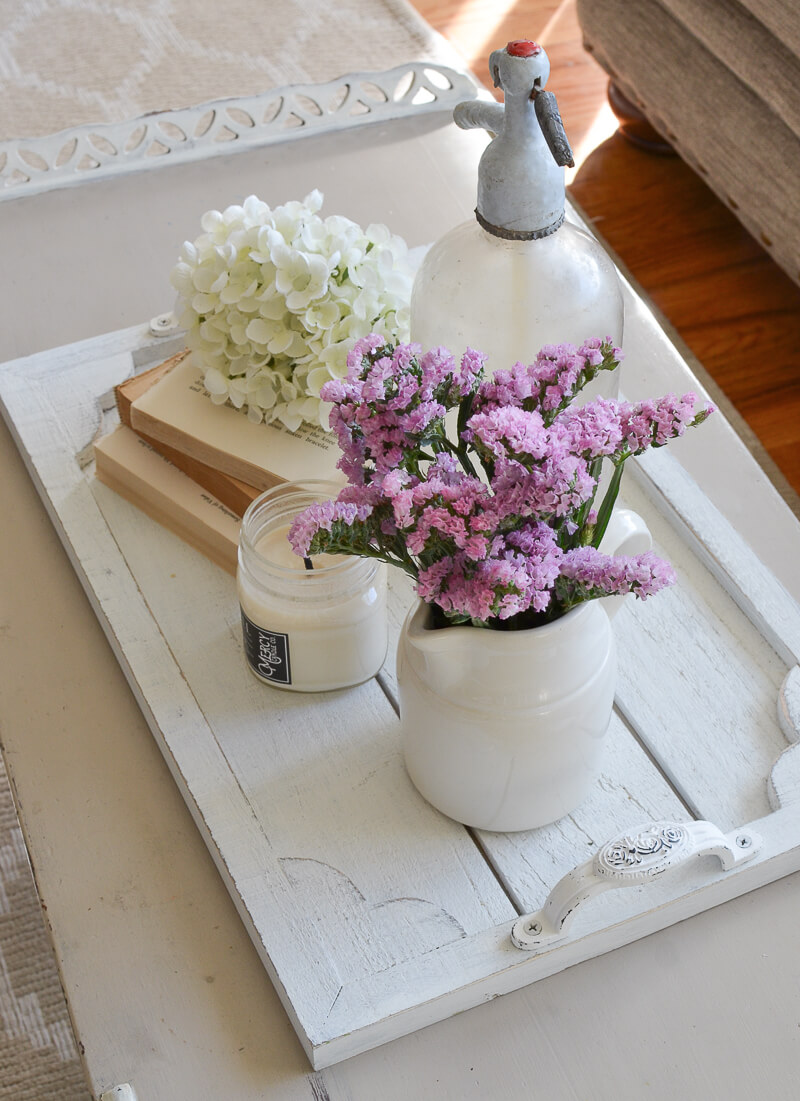 Whitewashed Wooden Tray with Handles