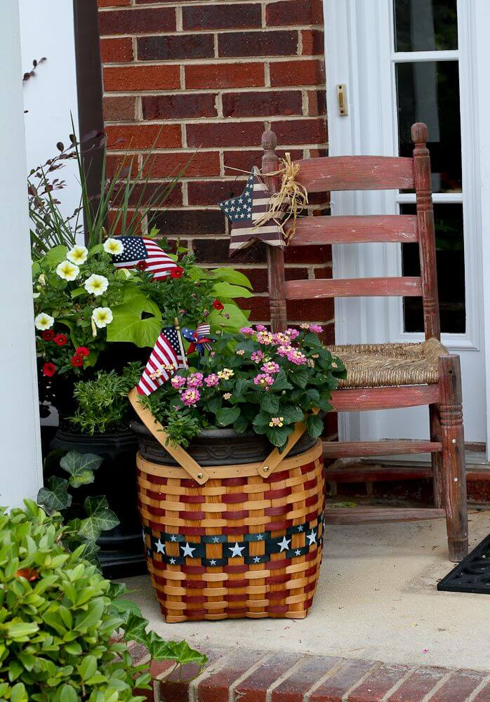 Patriotic Basket, Chair, and Flags Arrangement