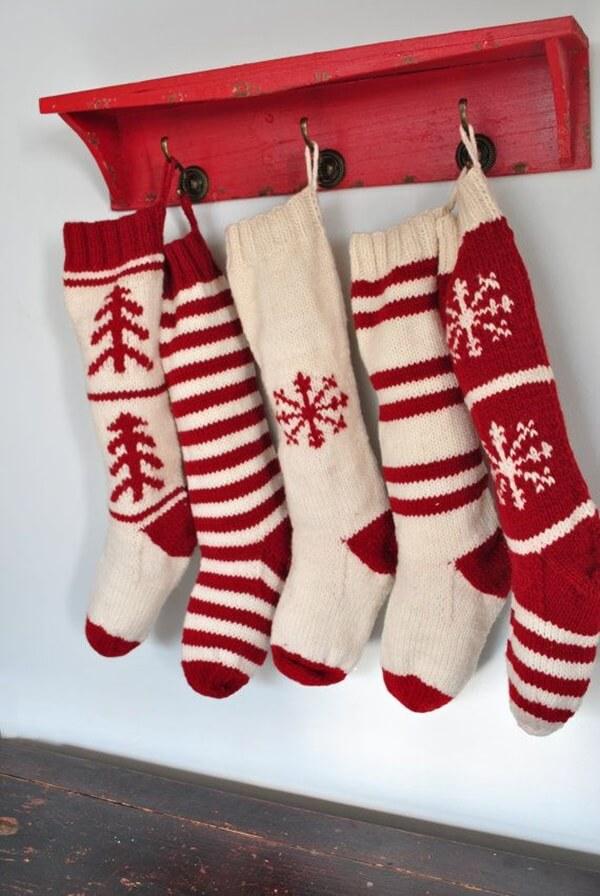 A Primitive Coat Rack and Woolen Stockings