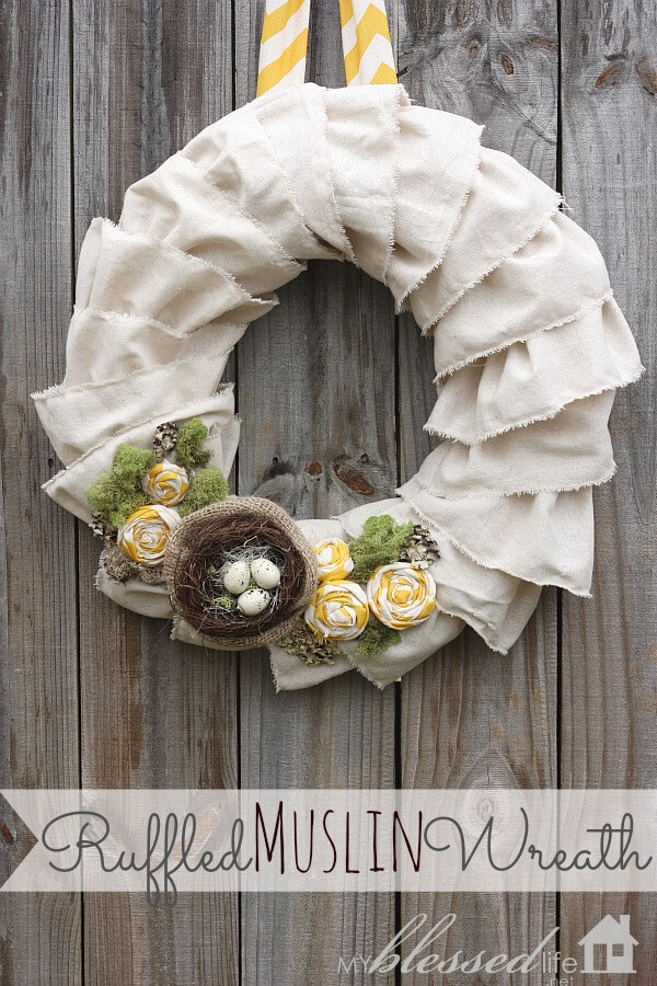 Ruffled Wreath with Fabric Rosettes and Nest