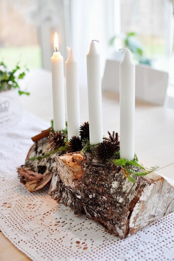 Log Candle Holder Centerpiece