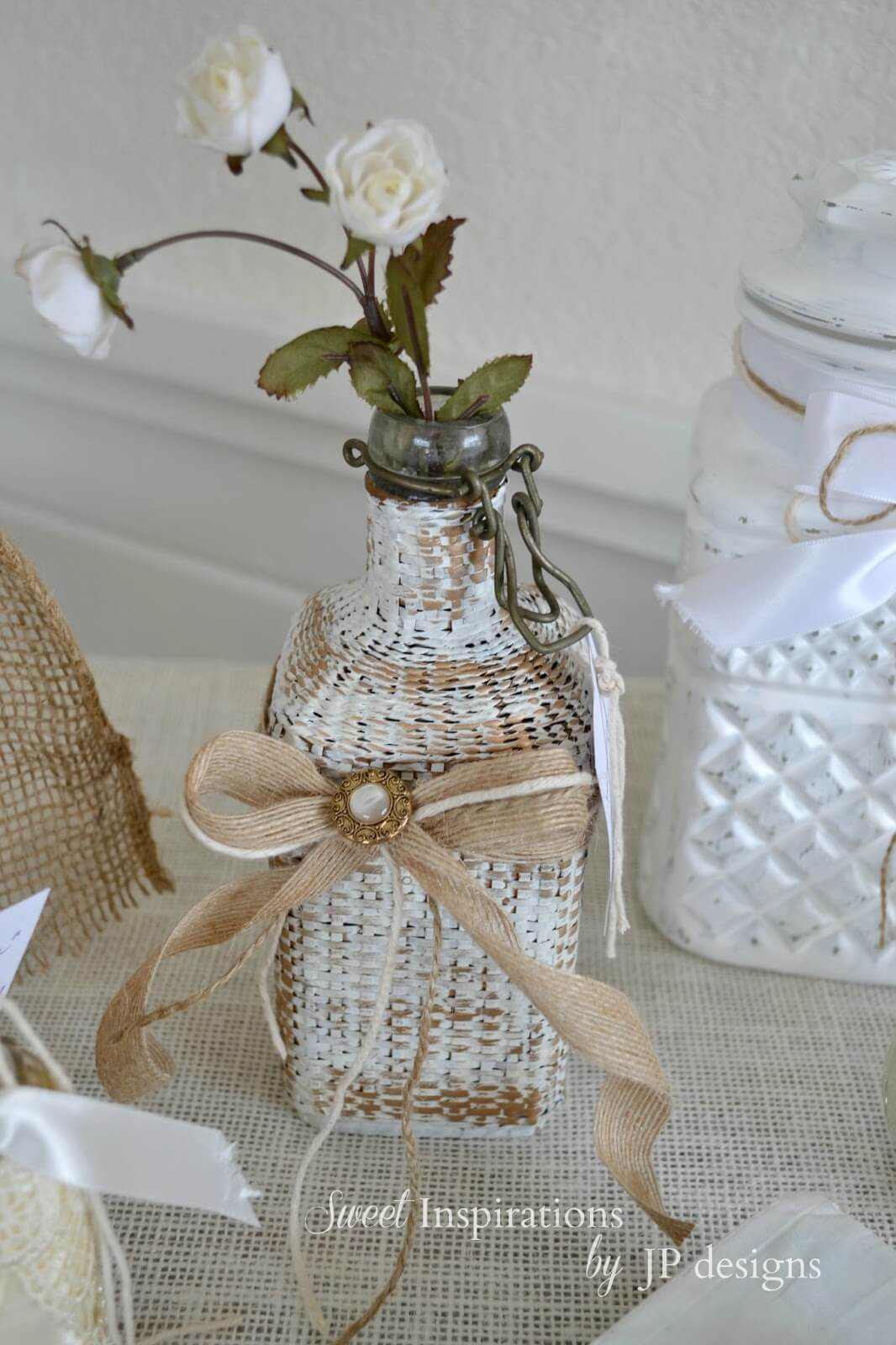 Wicker Covered Glass Bottle Vase
