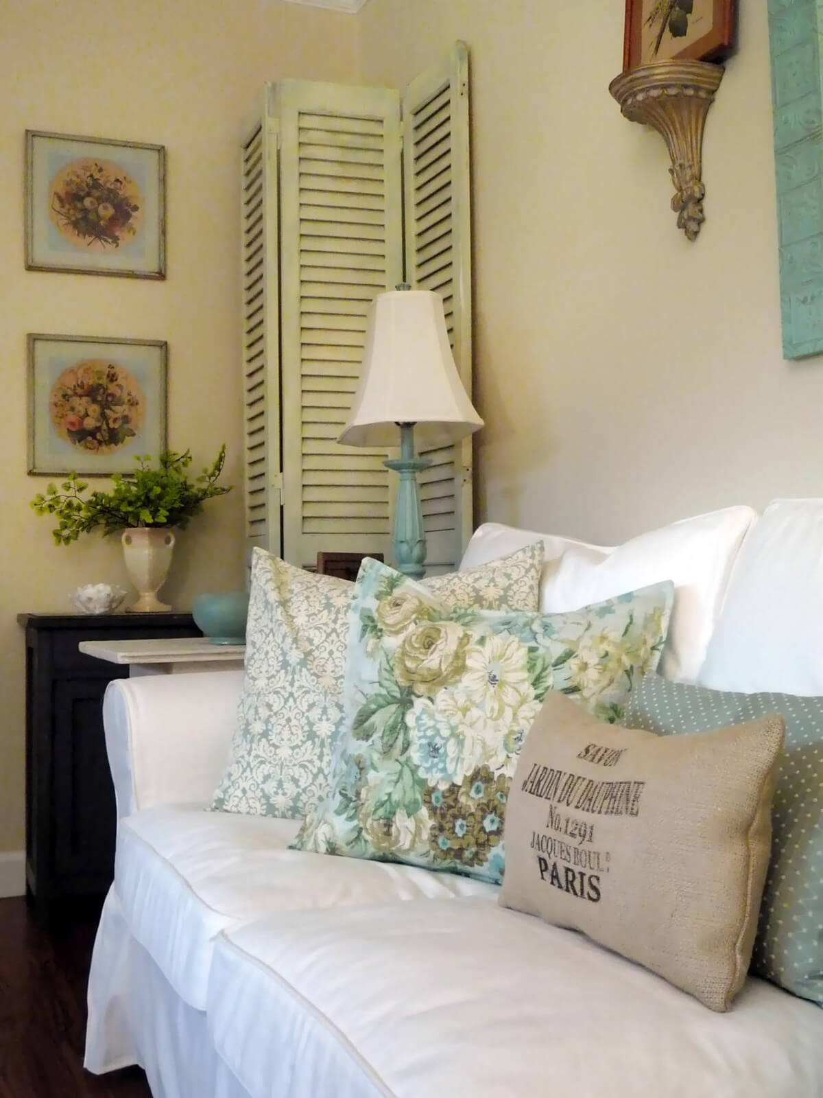 Blue and White Room with Soft Cushions