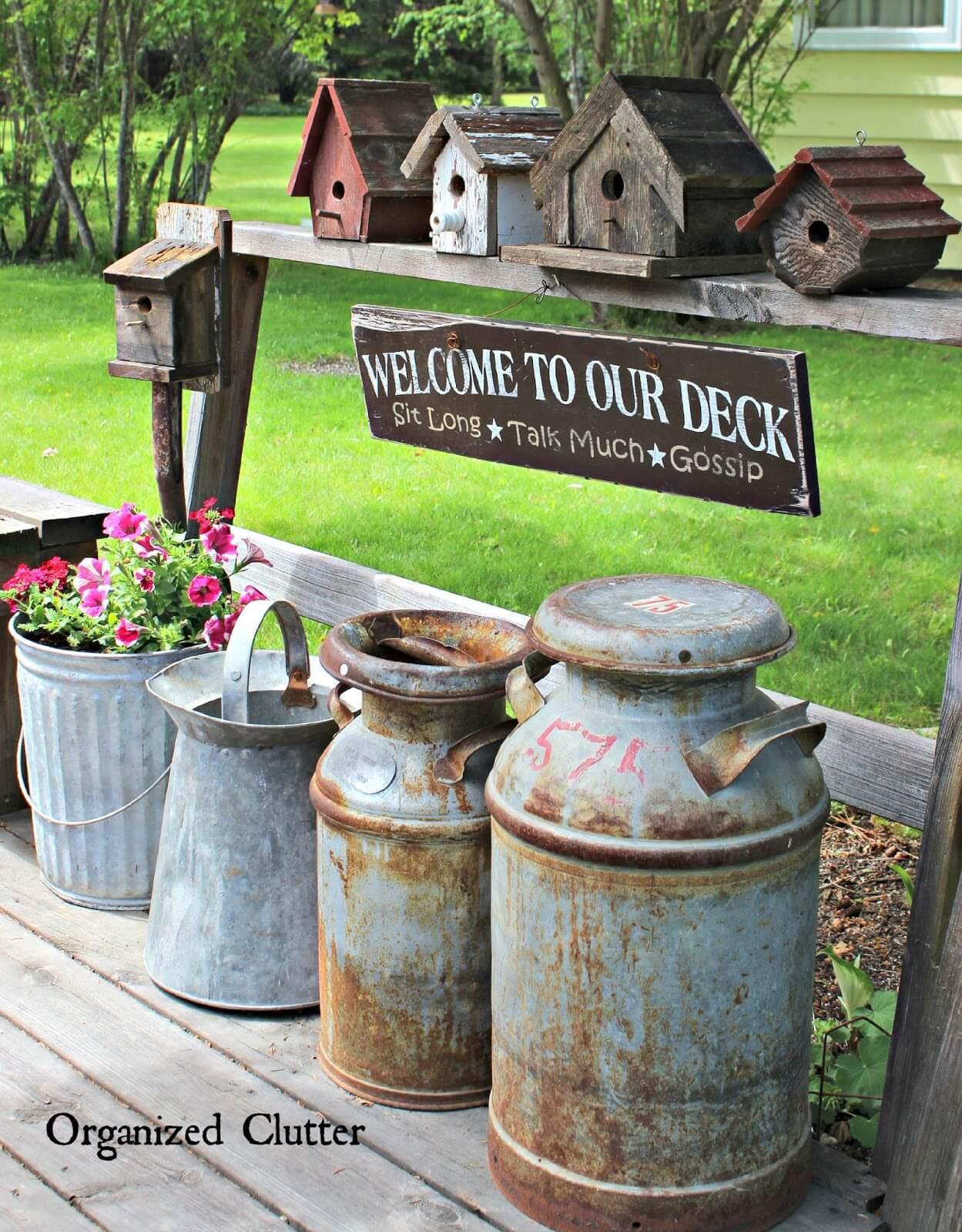 Vintage Birdhouse and Milk Can Decor Idea