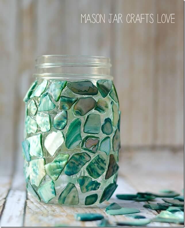 Beautiful Seashells on a Mason Jar