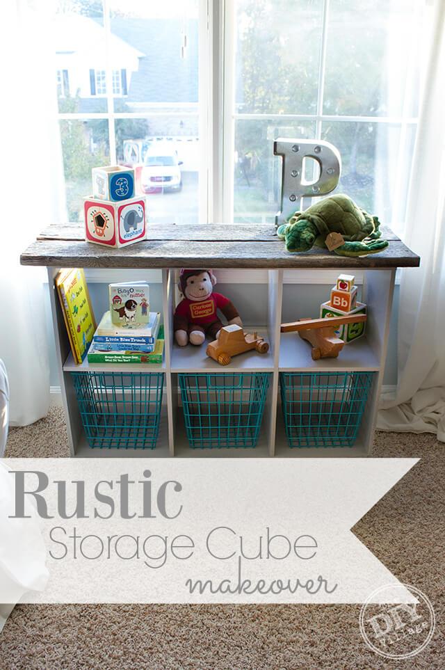 Cube Storage Unit Rustic Makeover