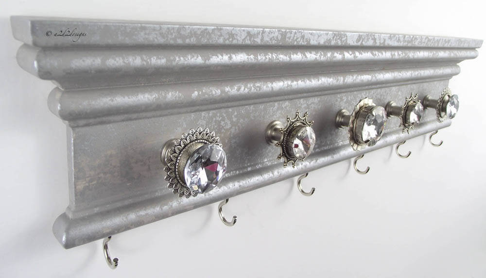 Fancy Vintage Necklace Organizer with Knobs and Hooks