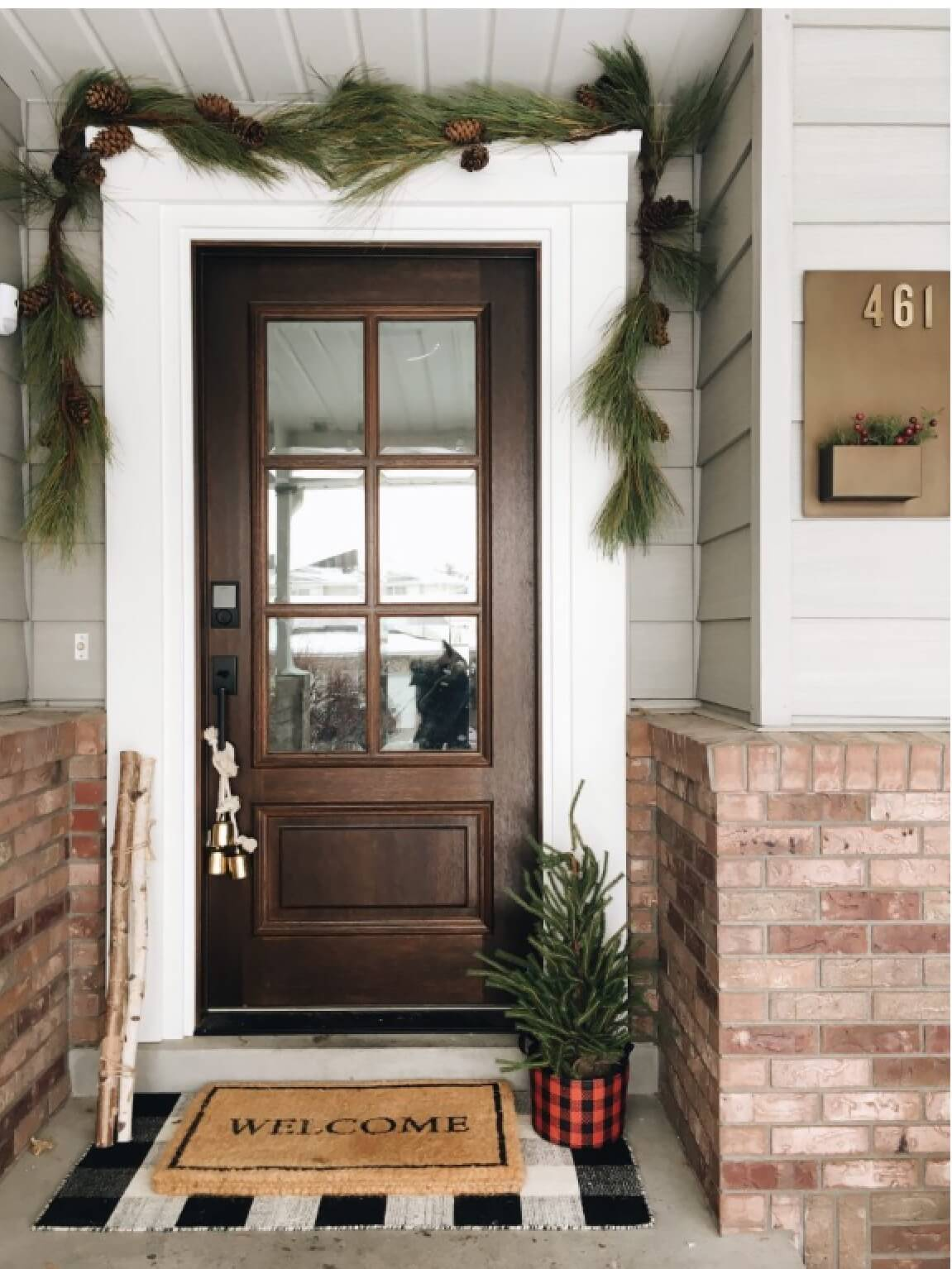 Brown Front Door With Thick Foliage