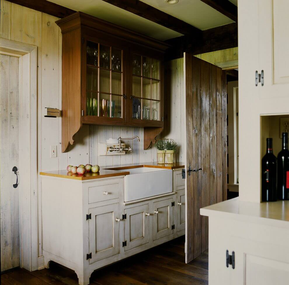 Contrast Cabinets with Dark Wood and Distress White